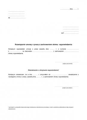 RUoP (archiwalny) Rozwiązanie umowy o pracę z zachowaniem okresuwypowiedzenia (pracownik)