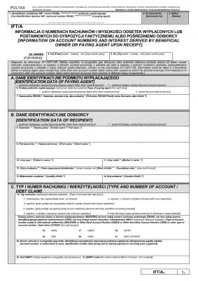 IFT/A (6) (archiwalny) (2016-2019) Informacja o numerach rachunków i wysokości odsetek wypłaconych lub postawionych do dyspozycji faktycznemu albo pośredniemu odbiorcy
