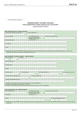 ZUS Z-3a (archiwalny) Zaświadczenie płatnika składek