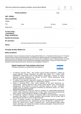 Ppwg (BM) Zlecenie płatnicze-zapłata podatku przez Blue Media / wpłata gotówkowa na rachunek organu podatkowego (podatki)