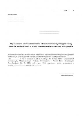 WUOC Wypowiedzenie umowy ubezpieczenia OC pojazdu