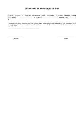 UULzal2 Protokół zdawczo-odbiorczy załącznik nr 2 do umowy użyczenia lokalu