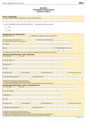 ZUS RD-8 (archiwalny) Wniosek w sprawie postępowania egzekucyjnego