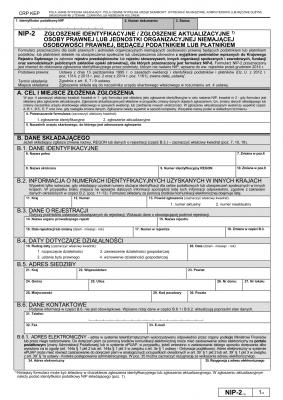 NIP-2 (10) (archiwalny) Zgłoszenie identyfikacyjne / zgłoszenie aktualizacyjne osoby prawnej lub jednostki organizacyjnej niemającej osobowości prawnej, będącej podatnikiem lub płatnikiem