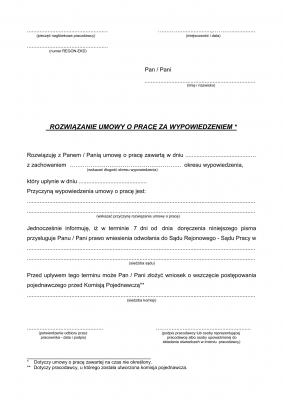 RUPW (archiwalny) Rozwiązanie umowy o pracę za wypowiedzeniem (pracodawca)