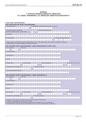 ZUS Rp-18 (archiwalny) Wniosek o wypłatę niezrealizowanych świadczeń po osobie uprawnionej do świadczeń emerytalno-rentowych