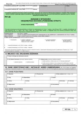 PIT-36 (28) (2020) Zeznanie o wysokości osiągniętego dochodu (poniesionej straty)