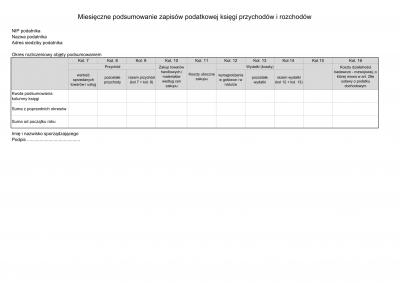 PKPIR - M Miesięczne podsumowanie zapisów podatkowej księgi przychodów i rozchodów