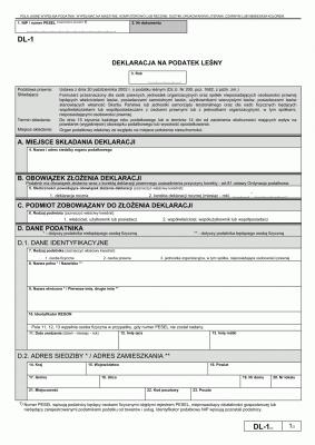 DL-1 (2) (archiwalny) Deklaracja na podatek leśny