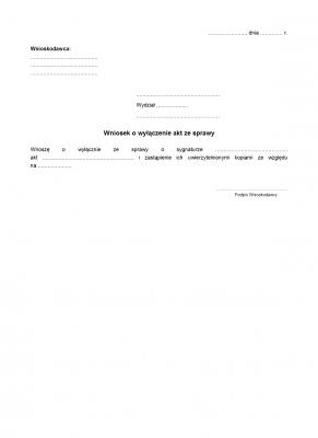 WoWAS Wniosek o wyłączenie akt ze sprawy