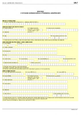 ZUS US-7 (archiwalny) Wniosek o wydanie zaświadczenia o przebiegu ubezpieczeń