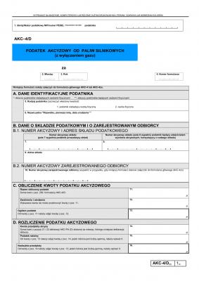 AKC-4/D (6) (archiwalny) Podatek akcyzowy od paliw silnikowych (z wyłączeniem gazu)