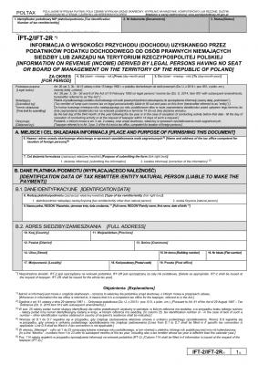 IFT-2R (7)  (archiwalny) (2015, 2016, 2017) Informacja o wysokości przychodu (dochodu) uzyskanego przez podatników podatku dochodowego od osób prawnych niemających siedziby lub zarządu na terytorium Rzeczypospolitej Polskiej