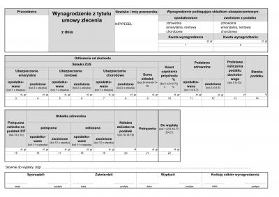 ZLP (archiwalny) (od 2016) Wynagrodzenie z tytułu umowy zlecenie (lista płac)