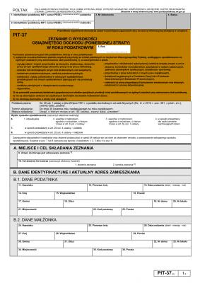 PIT-37 (23) (archiwalny) (2016) Zeznanie o wysokości osiągniętego dochodu (lub poniesionej straty)