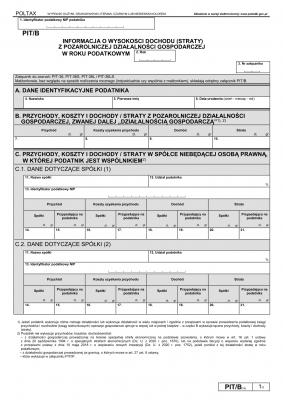 PIT/B (18) (2020) Informacja o wysokości dochodu (straty) z pozarolniczej działalności gospodarczej