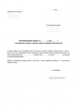WUOOK Wypowiedzenie umowy o świadczenie usług odbioru odpadów komunalnych (wywozu śmieci)