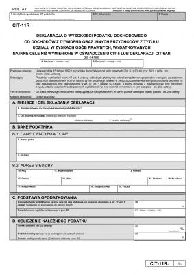 CIT-11R (3) (archiwalny) Deklaracja o wysokości podatku dochodowego od dochodów z dywidend oraz innych przychodów z tytułu udziału w zyskach osób prawnych, wydatkowanych na cele inne niż wymienione w oświadczeniu CIT-5 lub deklaracji CIT-6AR