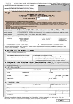 PIT-37 (27) (2020) Zeznanie o wysokości osiągniętego dochodu (lub poniesionej straty)
