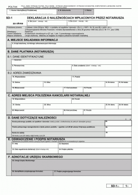SD-1 (1)  Deklaracja o należnościach wpłaconych przez notariusza