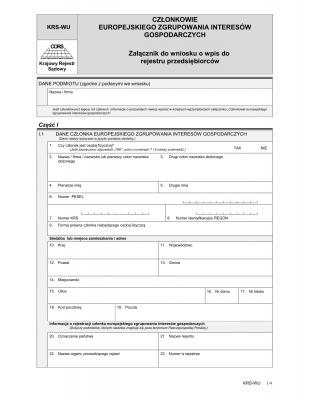 KRS-WU Członkowie europejskiego zgrupowania interesów gospodarczych - załącznik do wniosku o wpis do rejestru przedsiębiorców