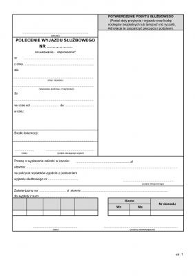 PWS (archiwalny) Polecenie wyjazdu służbowego (delegacja - 2 str.)
