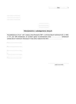 OUD (archiwalny) Oświadczenie o udostępnieniu danych osobowych
