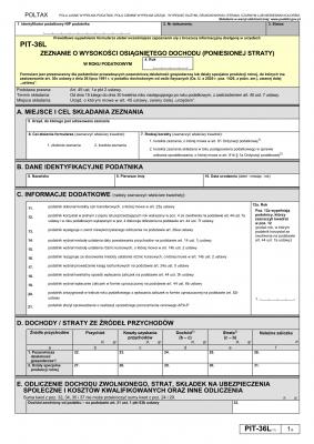 PIT-36L (17) (2020) Zeznanie o wysokości osiągniętego dochodu (poniesionej straty)