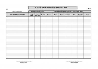 KUW Plan / karta urlopów wypoczynkowych