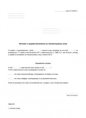 WWENU Wniosek o wypłatę ekwiwalentu za niewykorzystany urlop