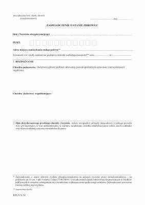 KRUS N-14 Zaświadczenie o stanie zdrowia