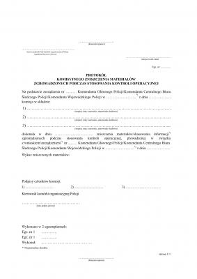 PKZMZ Protokoł komisyjnego zniszczenia materiałów zgromadzonych podczas stosowania kontroli operacyjnej