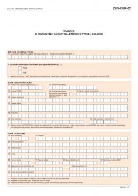 ZUS-EUR-02 (archiwalny) Wniosek o rozłożenie na raty należności z tytułu składek