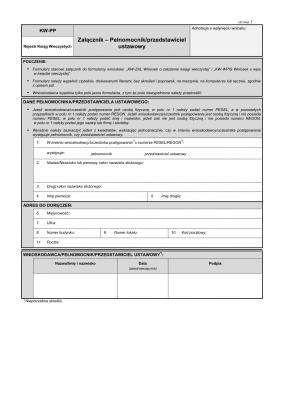 KW-PP Załącznik – Pełnomocnik/przedstawiciel ustawowy