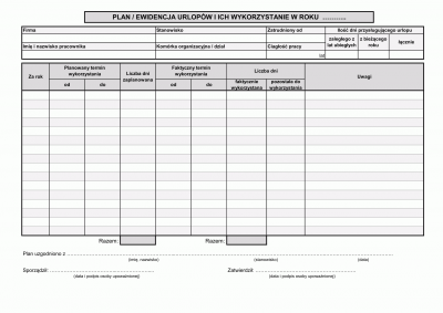 PEU Plan / ewidencja urlopów i ich wykorzystanie w roku