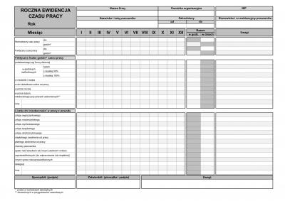 ECP(r) Roczna karta ewidencji czasu pracy pracownika