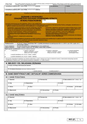 PIT-37 (20) (2014) (archiwalny) Zeznanie o wysokości osiągniętego dochodu (poniesionej straty) w roku podatkowym
