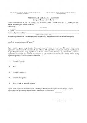 SBL (archiwalny) Skierowanie na badanie lekarskie