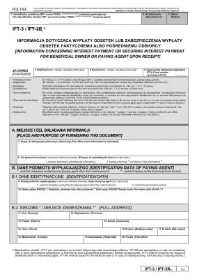 IFT-3 (8) (archiwalny) (2016-2019) Informacja dotycząca wypłaty odsetek lub zabezpieczenia wypłaty odsetek faktycznemu albo pośredniemu odbiorcy